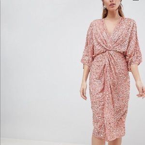 Asos sequin scatter sequin knot front kimono dress